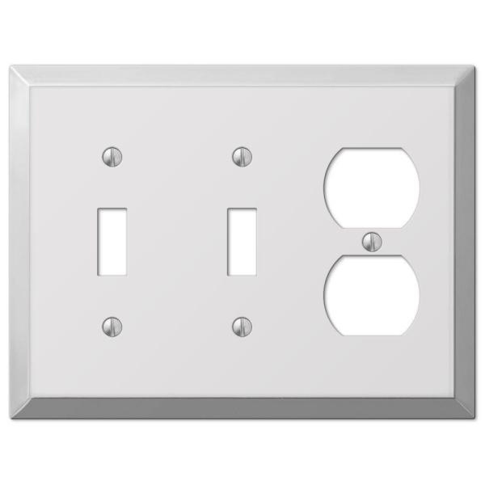Metallic 3 Gang 2-Toggle and 1-Duplex Steel Wall Plate - Polished Chrome