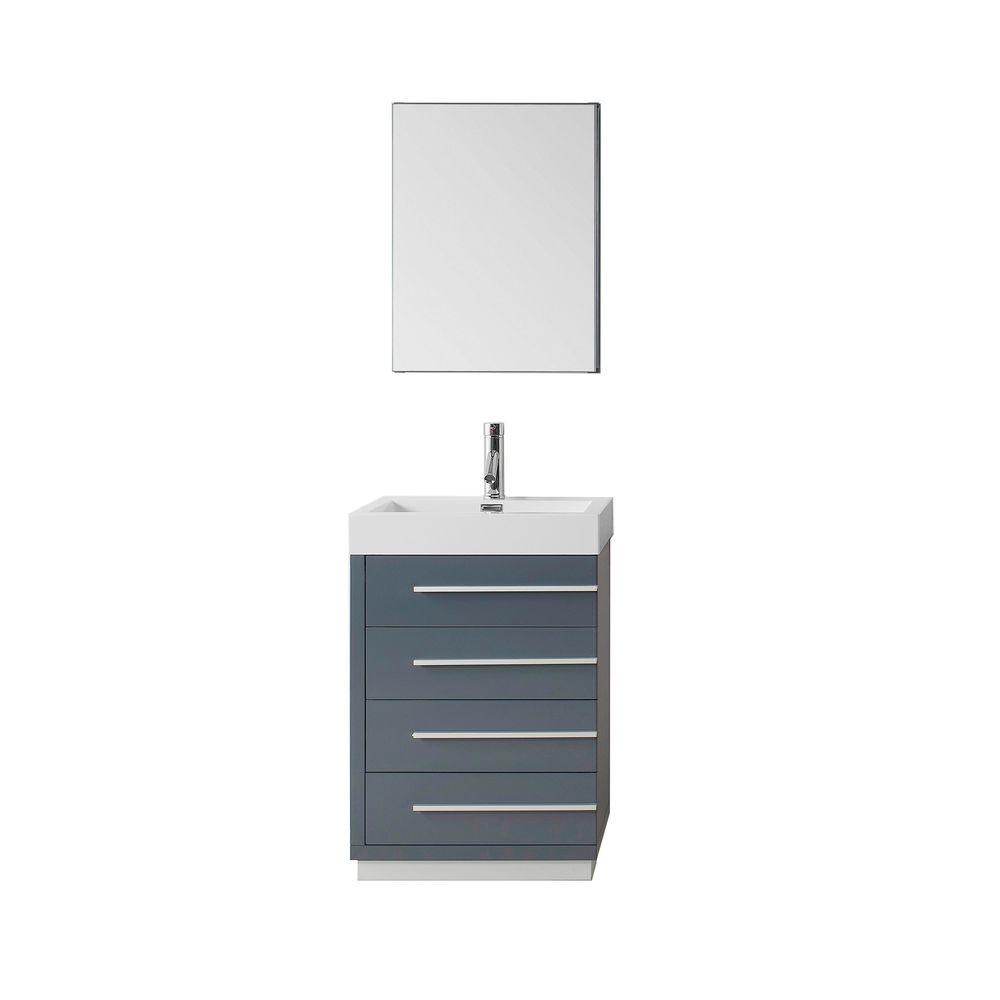 Virtu USA Bailey 23.62 in. W Vanity in Grey with Poly-Marble Vanity Top in White with White Basin and Mirror