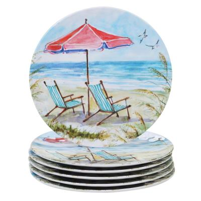 Ocean View 6-Piece Coastal Multi-colored Melamine Outdoor 11 in. Dinner Plate Set (Service for 6)