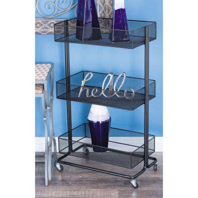 3-Tier Black Iron Mesh Deep Tray Stand