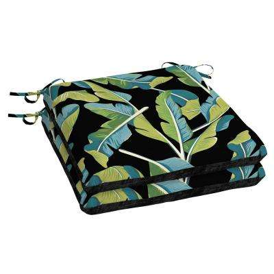 Banana Leaf Tropical Square Outdoor Seat Cushion (2-Pack)