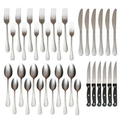 Gravity Sand Stainless Steel Flatware Set with Steak Knives (36-Piece)