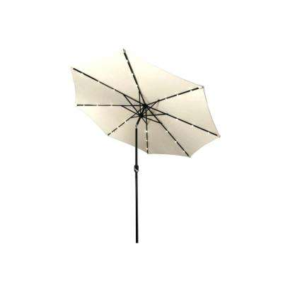 10 ft. Steel Market Solar Tilt Patio Umbrella in Beige