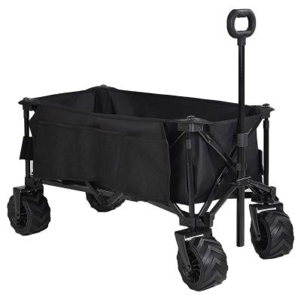 150 lbs. Capacity Folding Wagon Outdoor Cart in Black