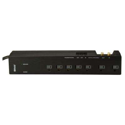 Multimedia 7-Outlet 2500-Joule Surge Protector with Satellite/Cable Coax and Phone/Fax/DSL 6 ft. Power Cord - Black