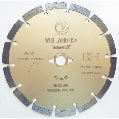 7 in. 14-Teeth Segmented Diamond Blade for Dry or Wet Cutting Concrete, Stone, Brick and Masonry
