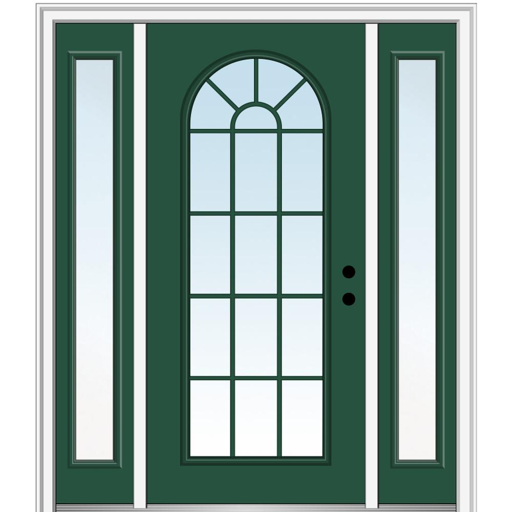 MMI Door 68.5 in. x 81.75 in. Classic Left-Hand Inswing Full Lite Round Top Clear Painted Steel Prehung Front Door with Sidelites