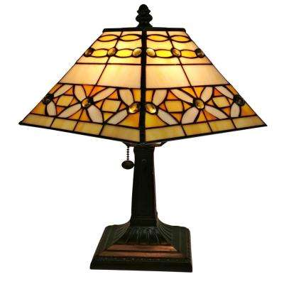 15 in. Tiffany Style Jeweled Finish Mission Table Lamp