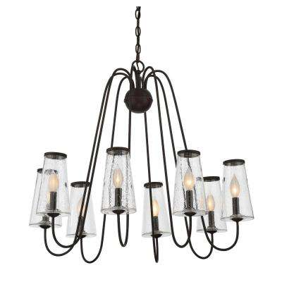 8-Light English Bronze Outdoor Hanging Chandelier with Clear Seeded Glass Shade