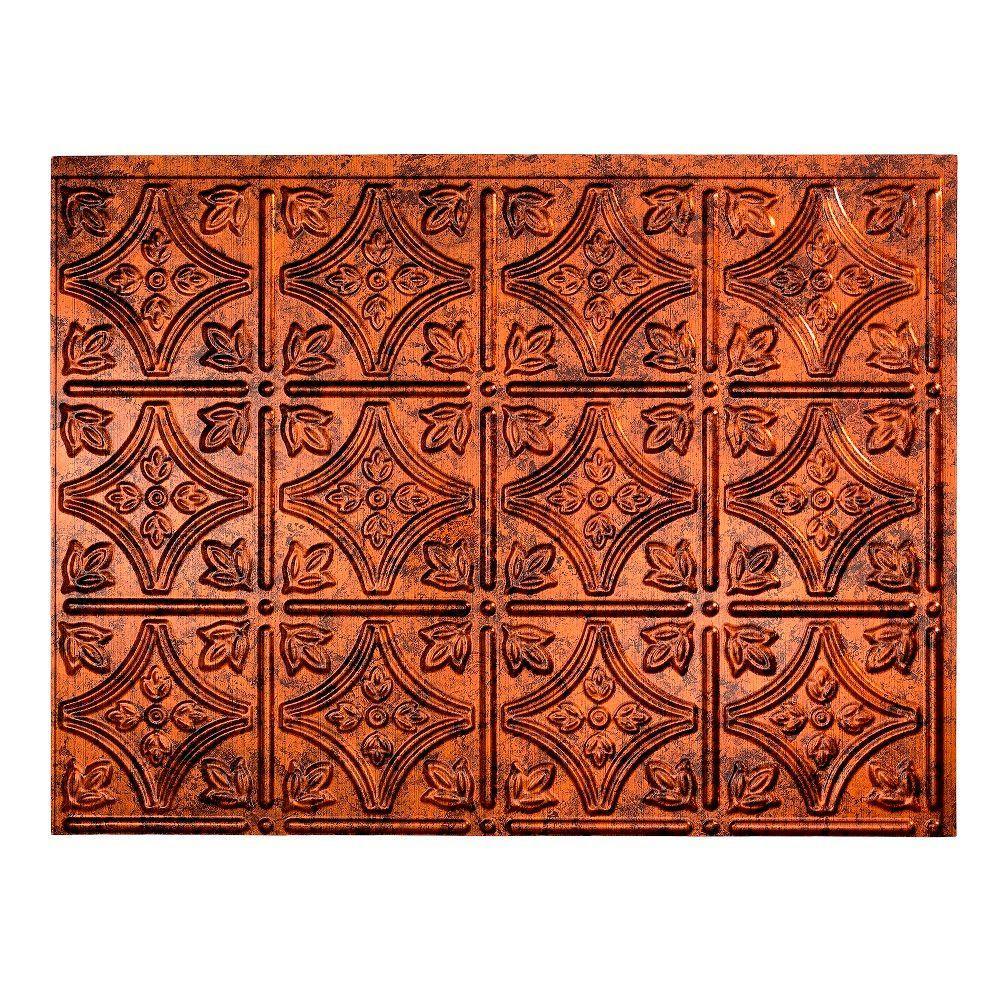 18.25 in. x 24.25 in. Moonstone Copper Traditional Style # 1 PVC Decorative Backsplash Panel