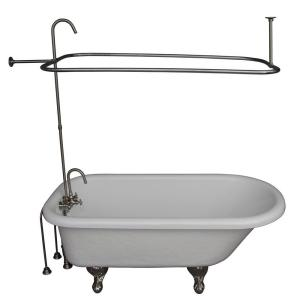 Barclay Products 5 ft. Acrylic Ball and Claw Feet Roll Top Tub in White with Brushed Nickel Accessories by Barclay Products