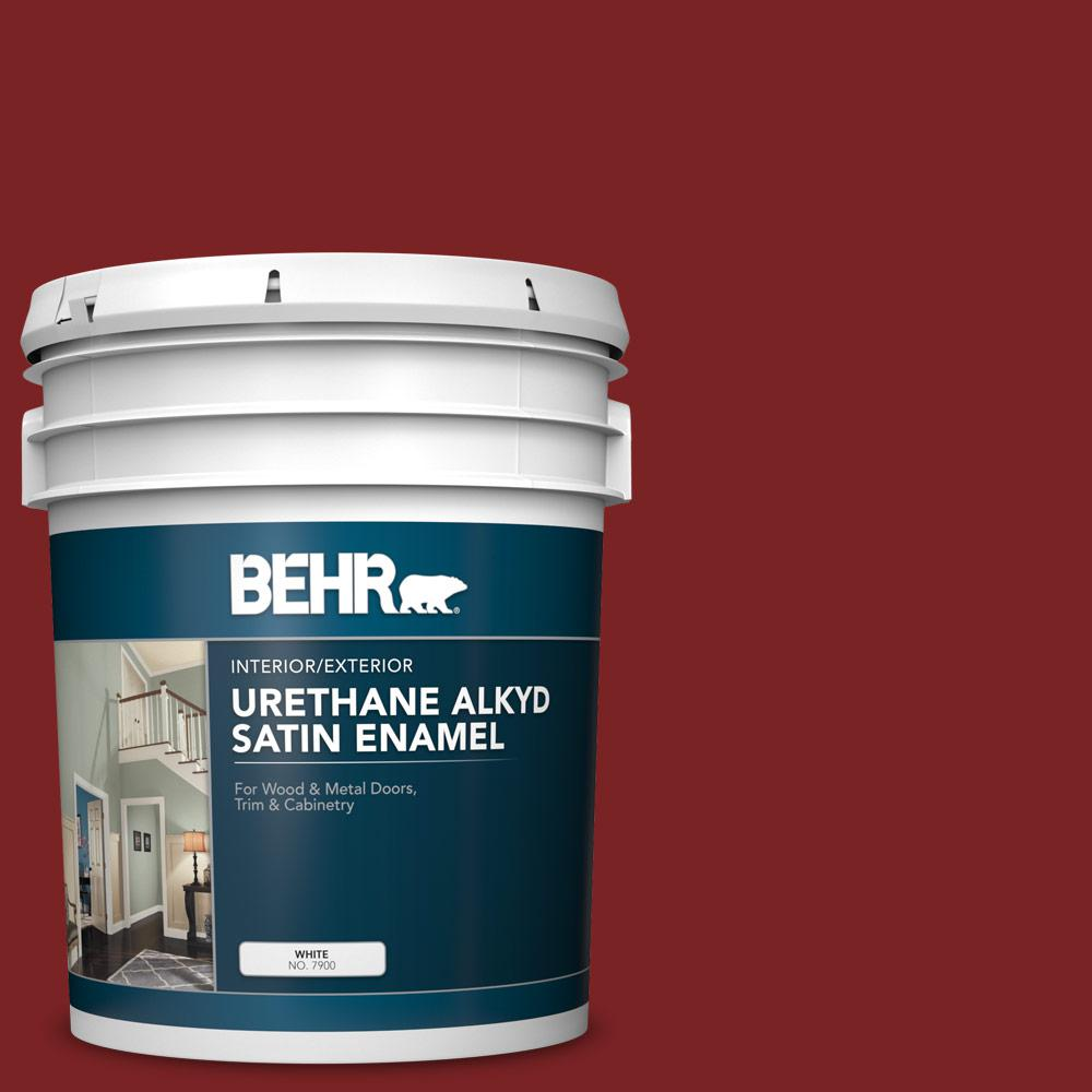 BEHR 5 gal. #SC-112 Barn Red Urethane Alkyd Satin Enamel Interior/Exterior Paint