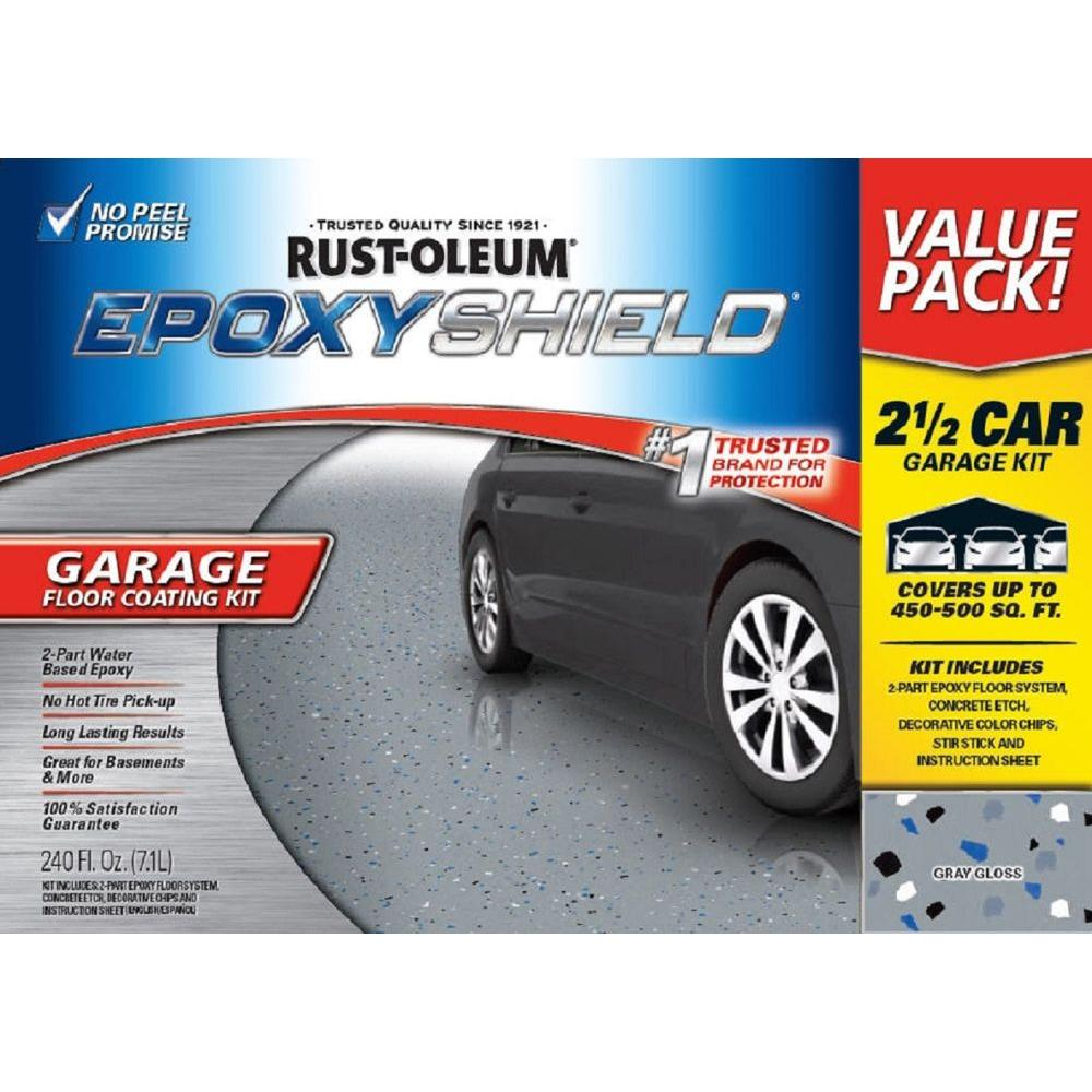 Rust oleum epoxyshield 240 oz gray high gloss 2 5 car for 2 5 car garage