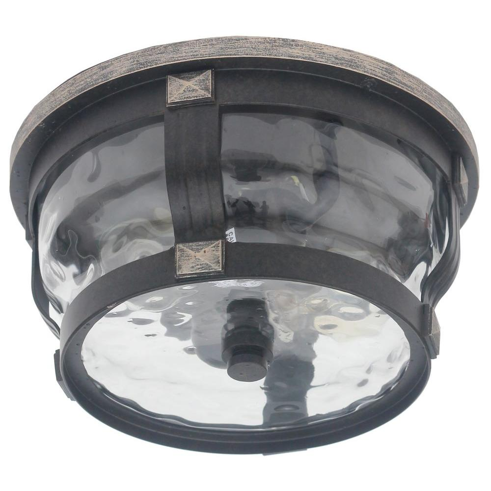 Home Decorators Collection Mccarthy 2 Light Bronze Outdoor Flushmount 23449 The Home Depot
