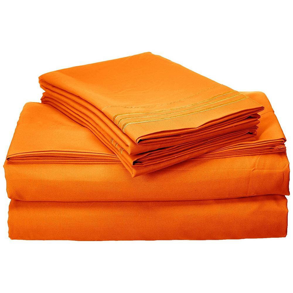 1500 Series 4-Piece Orange Triple Marrow Embroidered Pillowcases Microfiber Twin XL Size Bed Sheet Set