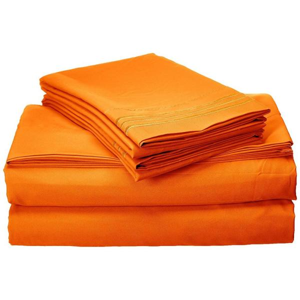 Elegant Comfort 1500 Series 4-Piece Orange Triple Marrow Embroidered Pillowcases Microfiber Twin XL Size Bed Sheet Set