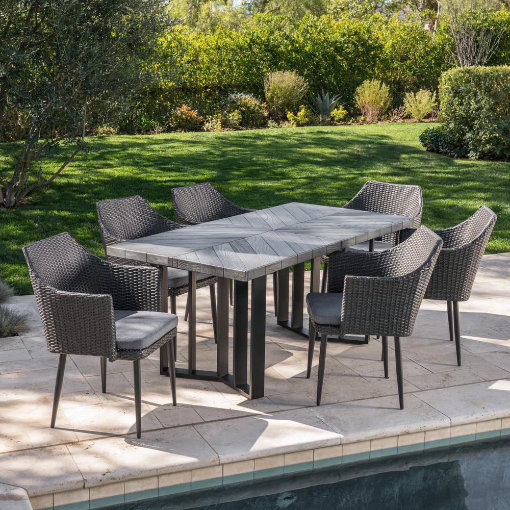Zander Grey 7-Piece Wicker Rectangular Outdoor Dining Set with Grey Cushions