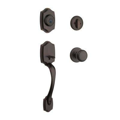 Belleview Venetian Bronze Single Cylinder Door Handleset with Cove Door Knob Featuring SmartKey Security