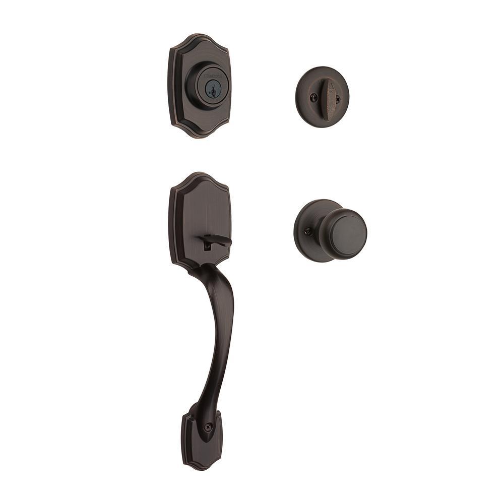 Belleview Venetian Bronze Single Cylinder Door Handleset with Cove Door Knob Featuring SmartKey Security