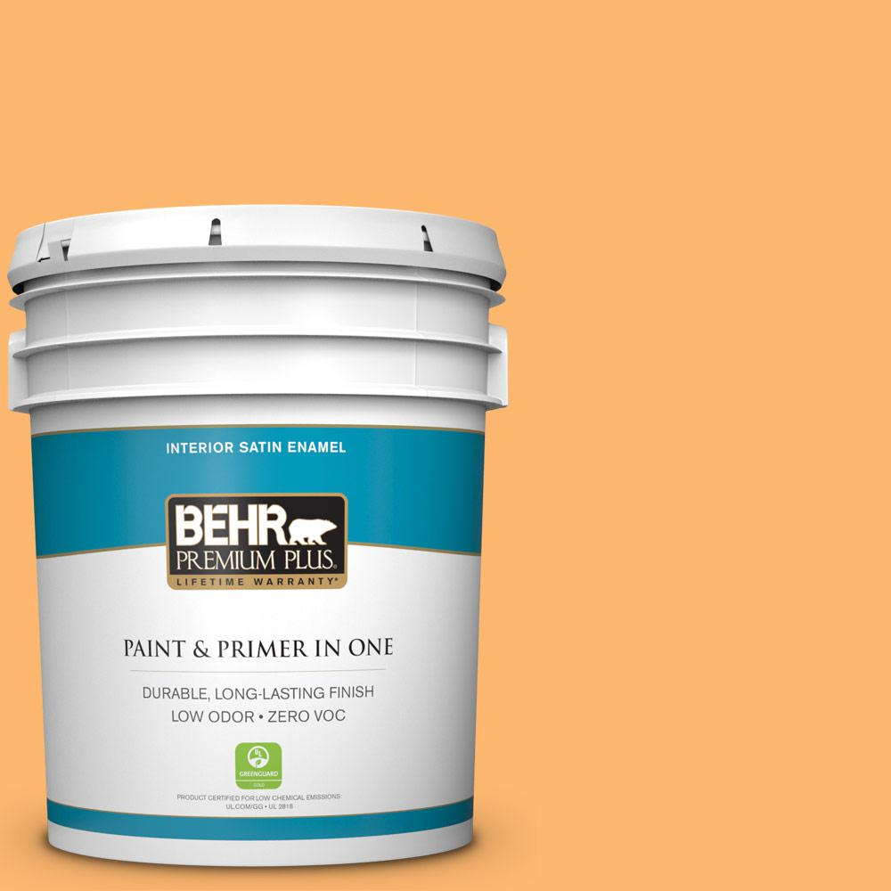 BEHR Premium Plus 5-gal. #P240-5 Cheese Puff Satin Enamel Interior Paint