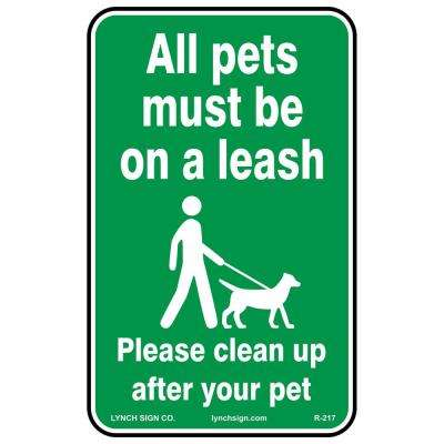 10 in. x 14 in. Pets on Leash Sign Printed on More Durable Thicker Longer Lasting Styrene Plastic