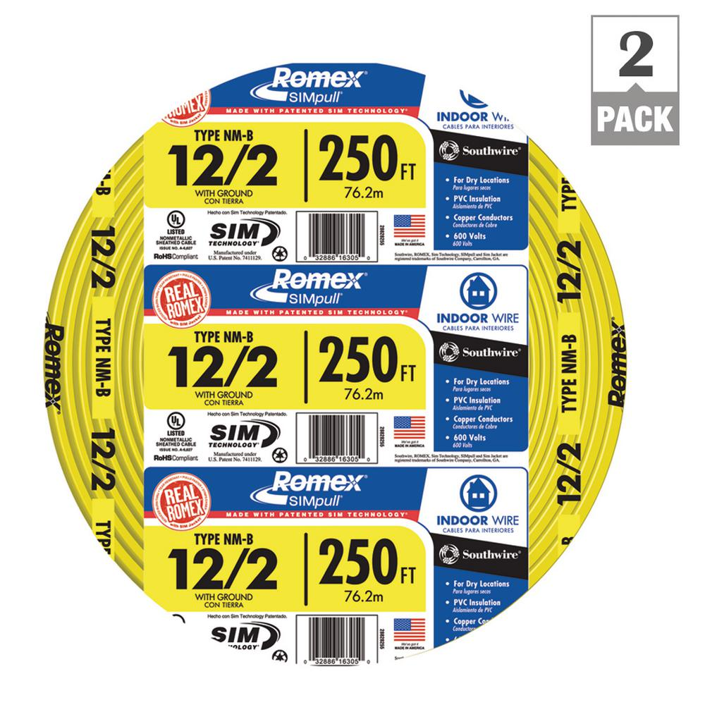 Southwire 250 ft. 12/3 Gray Solid CU UF-B W/G Wire-13058355 - The ...
