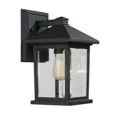 Malone 1-Light Black Modern Outdoor Sconce with Clear Beveled Glass Shade