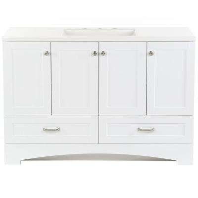 Lancaster 48 in. W x 18.75 in. D Bathroom Vanity in White with Cultured Marble Vanity Top in White with White Sink