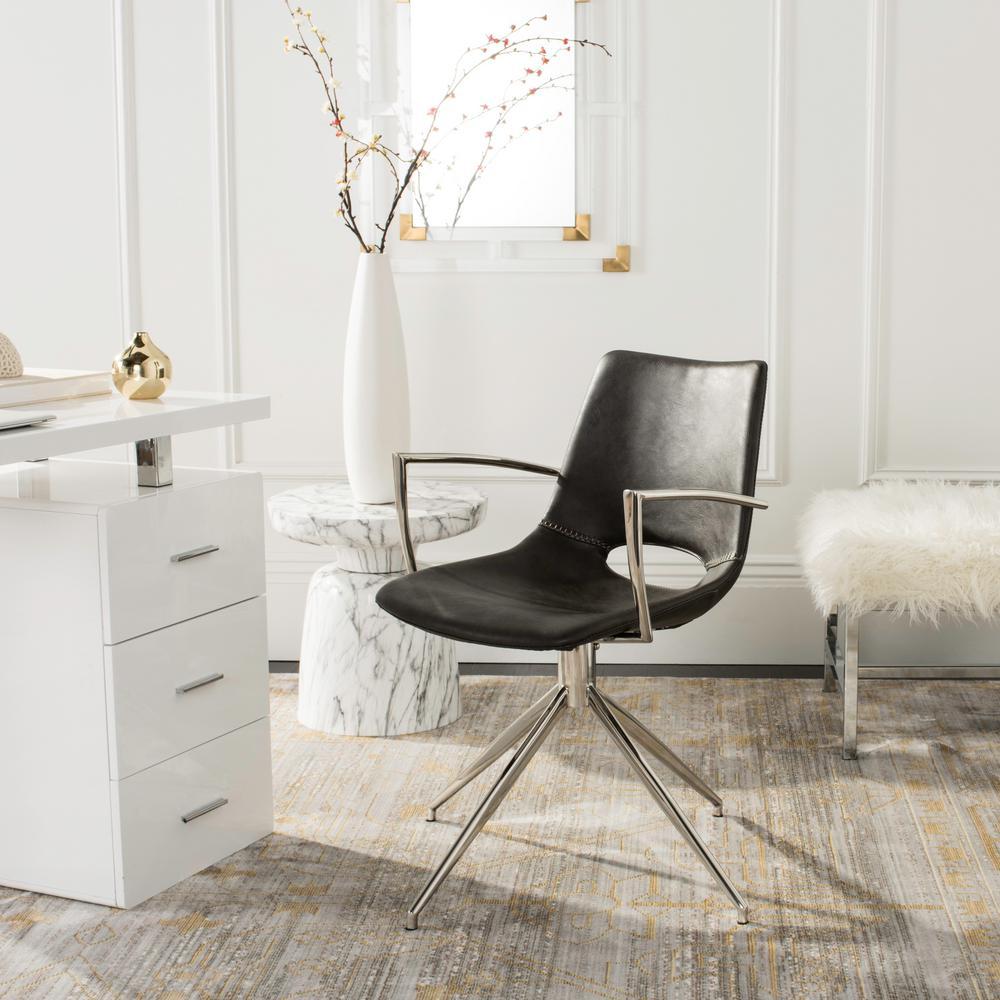 Dawn Grey/Copper Leather Swivel Dining Chair