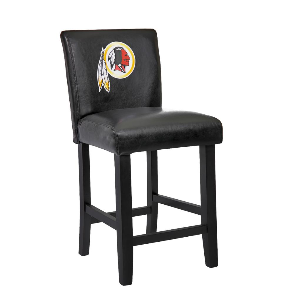 Black Bar Set: Washington Redskins 24 In. Black Bar Stool With Faux
