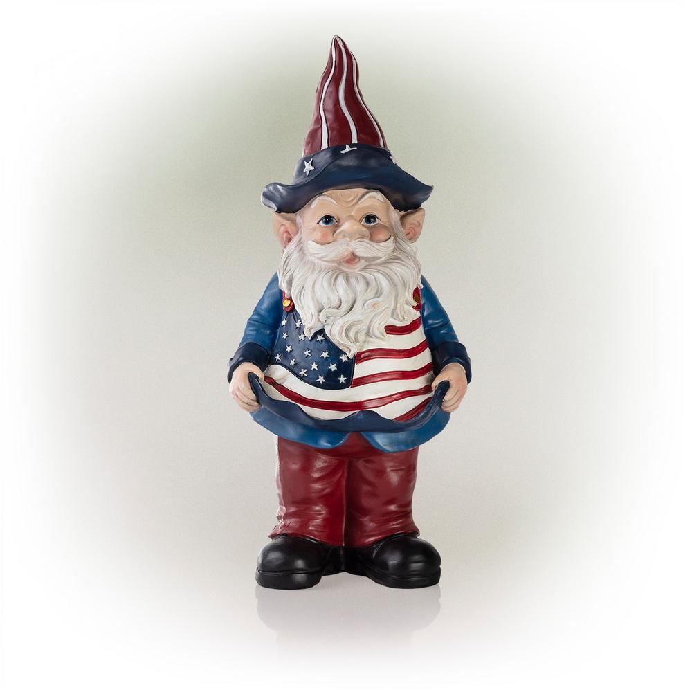 Americana Gnome with Flag Apron Bird Feeder