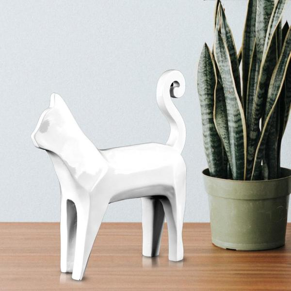 Crystal Art Gallery Abstract Cat White Resin Sculpture 76522WEB