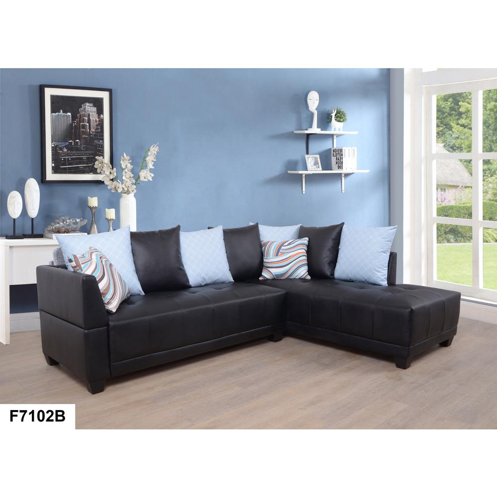 Dark Brown Faux Left Leather Sectional Sofa Set 2 Piece Sh7102b The Home Depot