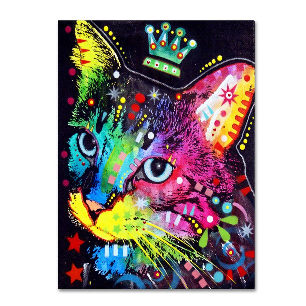 Trademark Fine Art 14 in. x 19 in. Thinking Cat Crowned Canvas Art