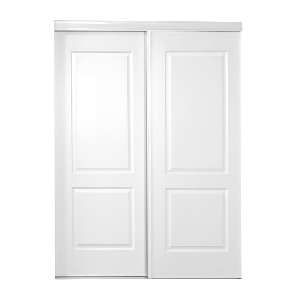 71 in. x 80 in. 108 Series Primed 2 Panel Square Top Design Primed MDF Sliding Door