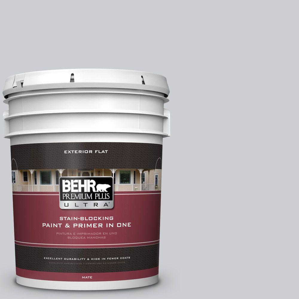 5 gal. #770E-2 Silver Screen Color Flat Exterior Paint