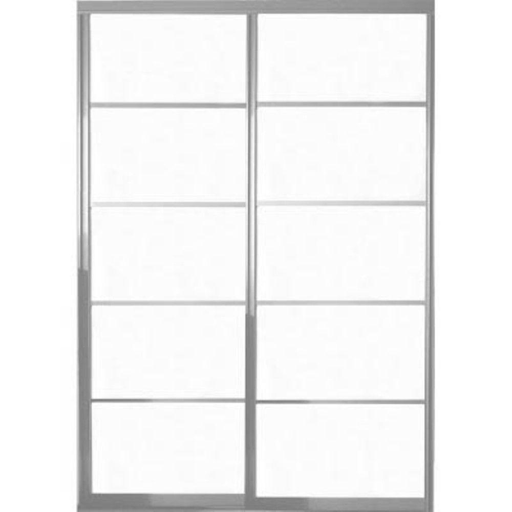 Contractors Wardrobe 48 in. x 81 in. Silhouette 5 Lite Aluminum Satin Clear Finish Interior Sliding Door