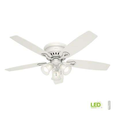 Oakhurst 52 in. LED Low Profile Indoor White Ceiling Fan with Light Kit Bundled with Handheld Remote Control