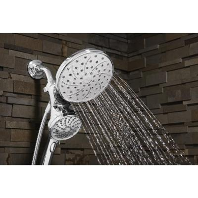 Attract 6-spray 6.75 in. Dual Shower Head and Handheld Shower Head in Chrome
