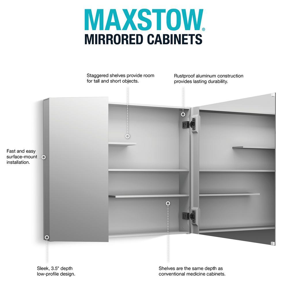 Kohler Maxstow 30 In X 24 In Frameless Surface Mount Aluminum Medicine Cabinet K 81154 La1 The Home Depot