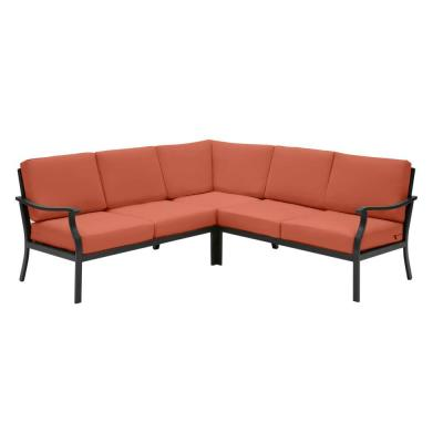 Riley 3-Piece Black Steel Outdoor Patio Sectional Sofa with CushionGuard Quarry Red Cushions
