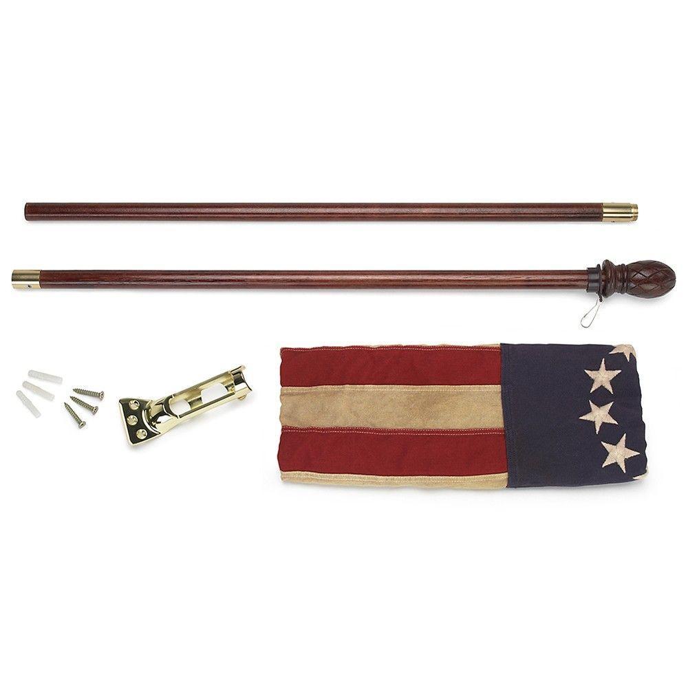 2-1/2 ft. x 4 ft. Cotton 13-Star Antiqued U.S. Flag Kit