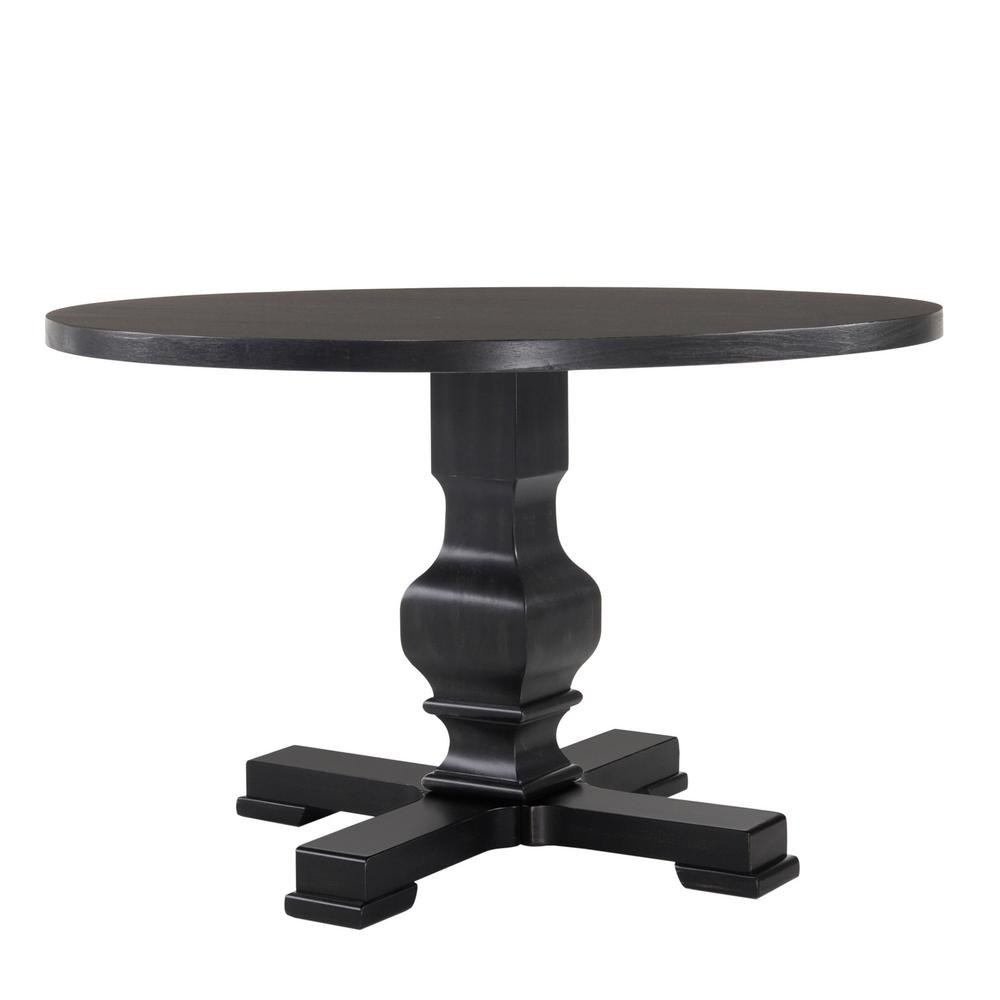 Carolina Classic Carson 47 In Antique Black Round Pedestal Dining Table 2947 Ab The Home Depot