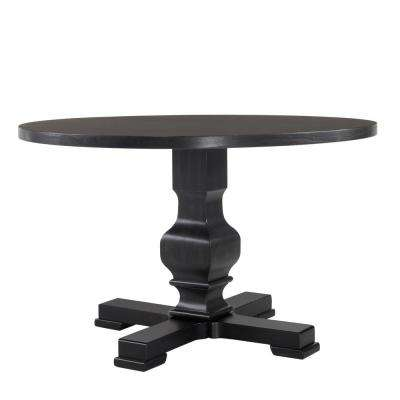 Carson 47 in. Antique Black Round Pedestal Dining Table