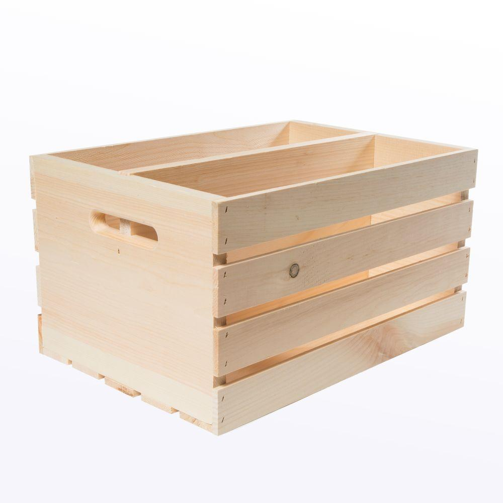 18 in. x 12.5 in. x 9.5 in. Divided Wood Crate