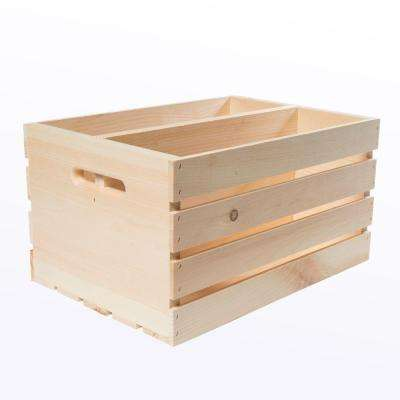 18 in. x 12.5 in. x 9.5 in. Divided Wood Crate (2-Pack)
