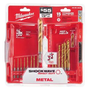 Titanium Shockwave Drill Bit Kit (15-Piece)