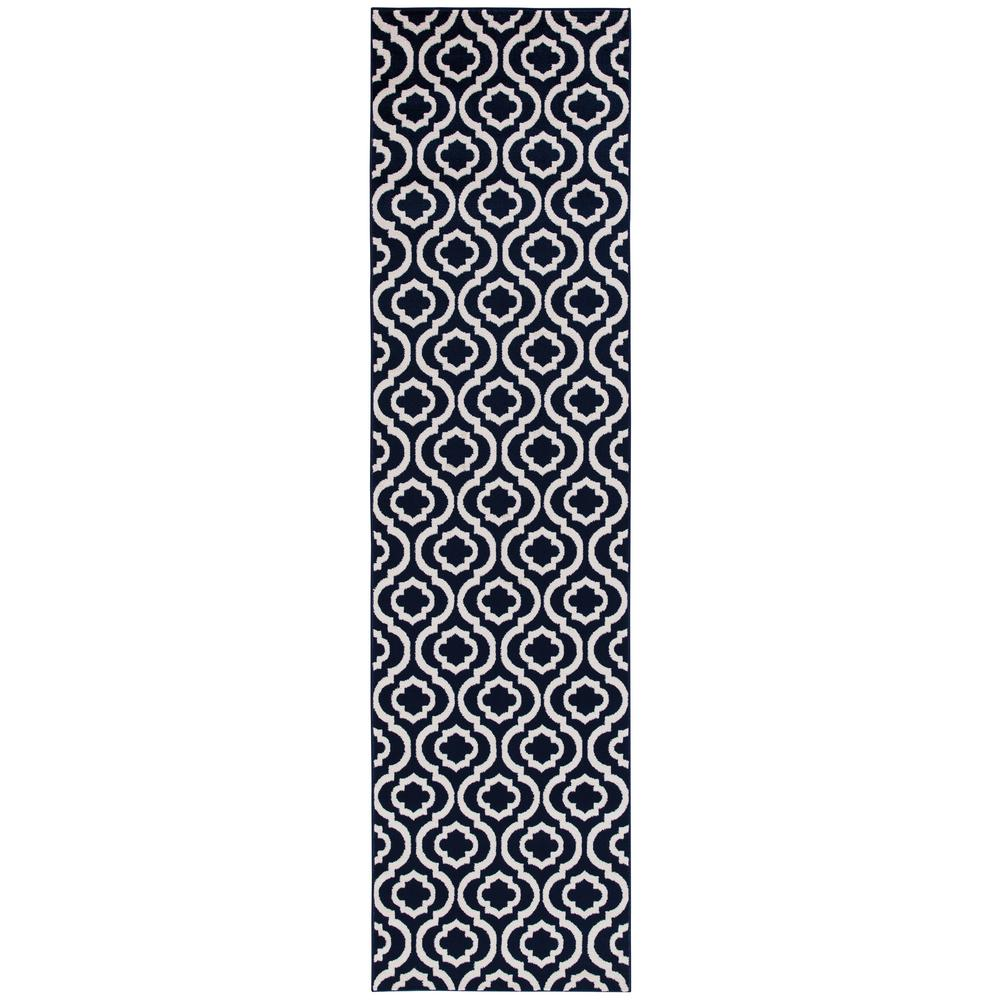 Diagona Designs Jasmin Collection Moroccan Trellis Design Navy and Ivory 2 ft. 7 in. x 9 ft. 10 in. Runner Rug, Navy / Ivory was $50.82 now $30.49 (40.0% off)