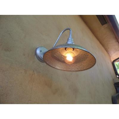 Lora 1-Light Galvanized Finish Outdoor Wall Mount Barn Light Sconce