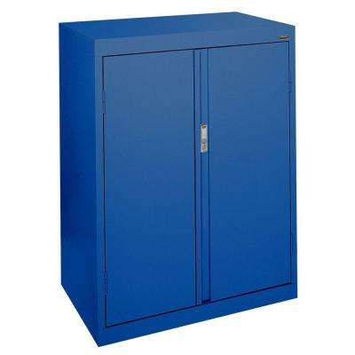 System Series 30 in. W x 42 in. H x 18 in. D Counter Height Storage Cabinet with Fixed Shelves in Blue